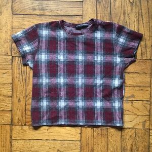 Brandy Melville Red Plaid Crop Top